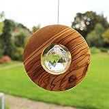 Fenster Deko zum Aufhängen | Holz mit Kristall 40mm Kreis | Sonnenfänger | Fensterdeko Geschenkidee