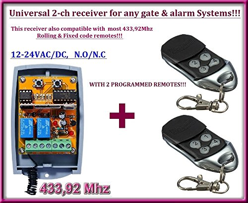 Universal 2-Kanal-Rolling/Fester Code 12–24VAC/DC Empfänger + 2bereits programmiert Fernbedienungen. N/O–N/C, 433,92MHz. Für jeden Tor Automatisierung oder - Torantriebe Board Control
