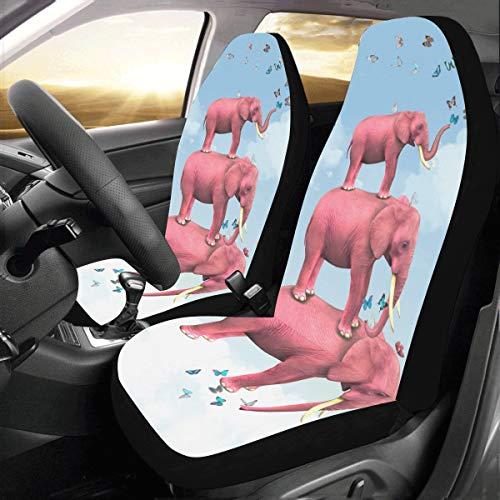 Dos fundas de asiento Un lindo bebé elefante flotante Universal Fit Auto Fundas de asiento de automóvil Protector para auto camión Suv Vehículo Mujer Señora (2 delanteras) Cubierta de asiento de car