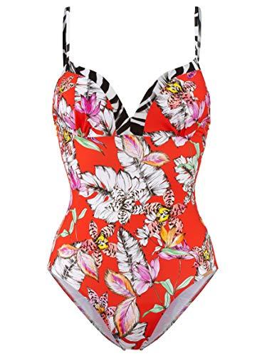 Damen Badeanzug mit Blende in Zebraoptik Schnell trocknend 38