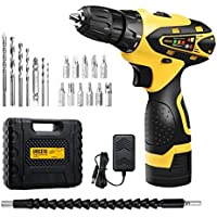 URCERI Cordless Electric Drill Kit 2000 mAh 16.8V Lithium-ion Battery 18+1 Keyless Clutch 2-Speed Driver with LED, Multiple Sockets, Screwdriver, Drill Bits, Magnetic Tip Holder and Flexible Shaft