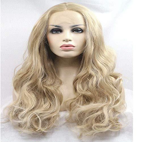 FMEZY Mischfarbe Mode Ombrebig Welle Synthetische Perücke Lockige Lange 3/4 Haar Nobangs Zwei Töne Hitzebeständige Halbe Perücken (Schwarz/Lila) -