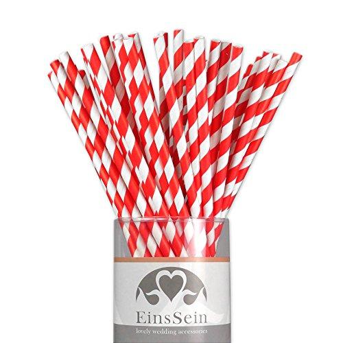 EinsSein 25x Papierstrohhalme Stripes Weiss-rot Hochzeit Party Geburtstag Strohhalme Trinkhalme Cake Pops Sticks und Candy Bar-Zubehör Stiele Papier Pappgeschirr Straws Bar-sticks