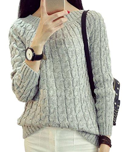 Minetom Donna Autunno Maglione Pullover Camicia Manica Lunga Felpe Camicetta Sweatshirt Top Grigio One size