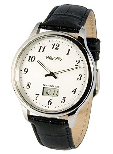 MARQUIS Herren Funkuhr, Schwarzes Lederarmband, Edelstahlgehäuse, Armbanduhr, Junghans-Uhrwerk  964.6016