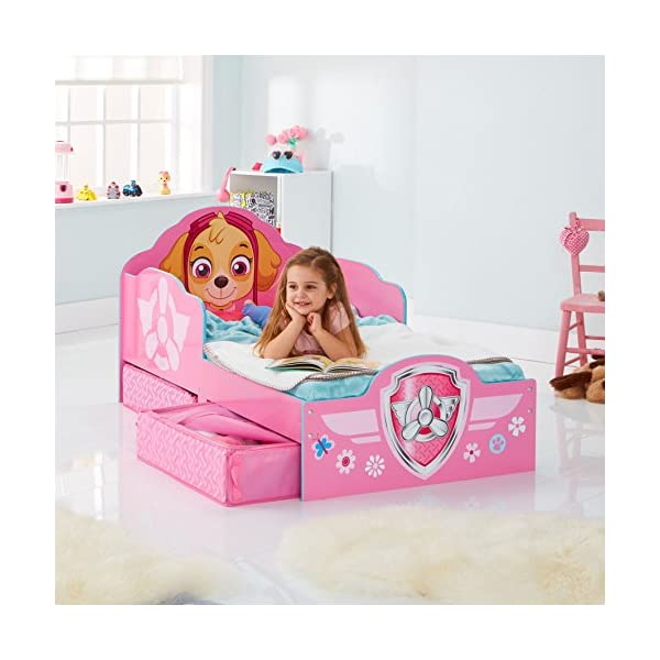 Hello Home Paw Patrol Skye Kids Toddler Bed with underbed Storage, Wood, Pink, 142x77x68 cm  Perfect for transitioning your little one from cot to first big bed The perfect size for toddlers, low to the ground with protective side guards to keep your little one safe and snug Two handy underbed, fabric storage drawers 9