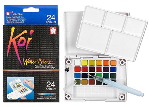 Koi Watercolor Pocket Field Sketch Box - 24 Colors-Assorted Colors -