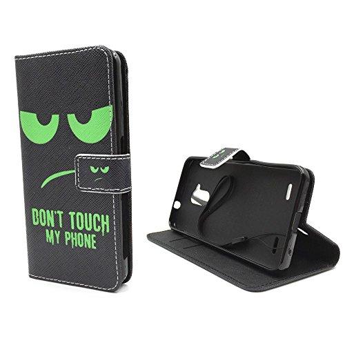 Handy Tasche Book Style Rahmen Flip Cover Case Schutz Hülle Etui Motiv Wallet, Für Handy:Apple iPhone 6 / 6s (4.7 Zoll), Motiv:MITTELFINGER Don't touch my Phone Grün