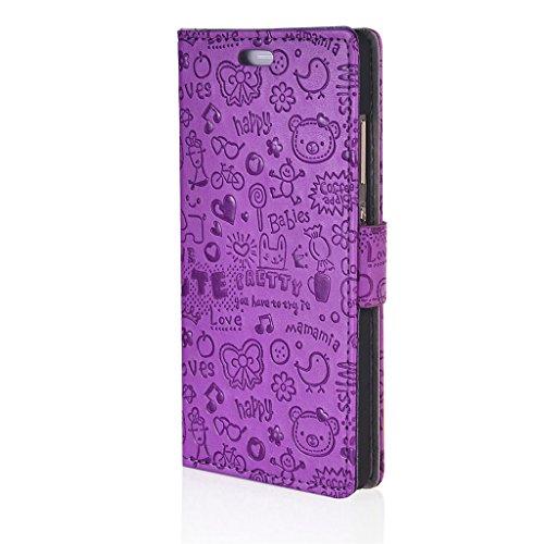 UKDANDANWEI iPhone 7 Hülle Nette Muster Nähen Ledertasche Wallet ...