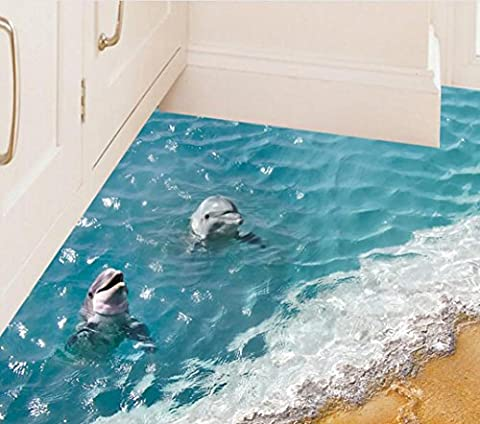 HLHN Creative 3D Beach Floor Wallpaper Household Home Wall Sticker Poster Mural Home Art Decoration for Bedroom Livingroom Bathroom Kitchen (B)