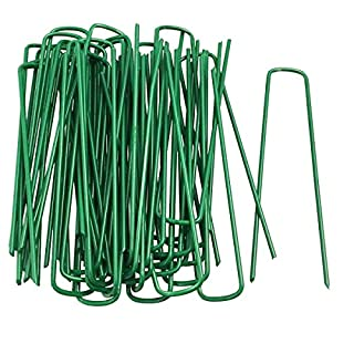 FiNeWaY Heavy Duty Set Of 50 U Pins Green Artificial Grass Turf Galvanised Metal Pegs Staples Weed Hooks- Perfect For Securing Tents, Ground Sheets, Awnings, Goal Nets And Pond Netting