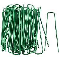 FiNeWaY - Juego de 50 pines en forma de U para césped artificial de césped de color verde, metal galvanizado, grapas y ganchos de hierba, perfectos para asegurar tiendas de campaña, hojas de tierra, toldos, redes de portería y estanque