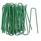 Fineway Heavy Duty Lot de 50U pins Vert gazon artificiel Gazon Piquets en métal galvanisé Agrafes Weed patères Parfait pour sécuriser tentes, feuilles de sol, auvents, objectif, filets et de bassins Filet