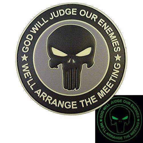 ACU GOD WILL JUDGE OUR ENEMIES Glow Dark Punisher DEVGRU Navy Seals PVC Hook-and-Loop Aufnäher Patch (Punisher Camo)