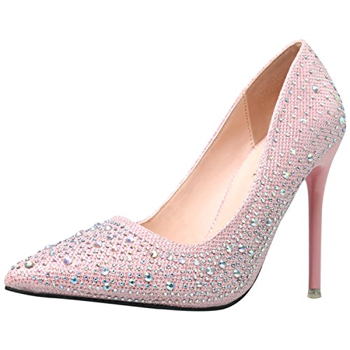 Oasap Women's Pointed Toe Rhinestone Slip-on Stiletto Pumps Pink