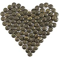 Yasorn Antiguos Clavos de Bronce para la Antigüedad de Muebles Decoración Flor Patrón de Cabeza 100 piezas