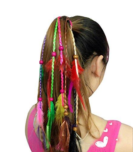 Juego de 3hecho a mano Boho Hippie pelo cuerda de pelo Band Diademas pañuelo para la cabeza pluma de elásticos del pelo Ponytail Holders tocado accesorios para el pelo para mujer Lady niñas