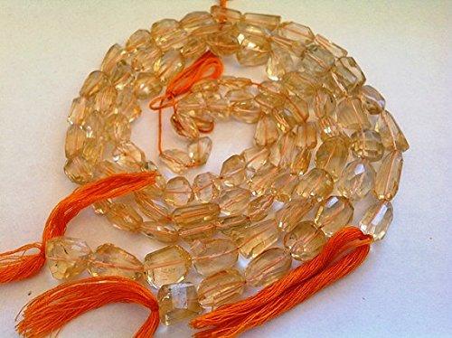 Volle Strähnen-Natürliche Citrin-Seite gebohrt Nugget shap- Größe 6X 11mm Perlen 32Pro Strang