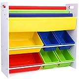 HOMFA Mensola Libreria Porta Giocattoli con Scatole per Bambini, Organizzatore Scaffale legno con 6 Cesti in Plastico, 3 Ripiani Porta Libri