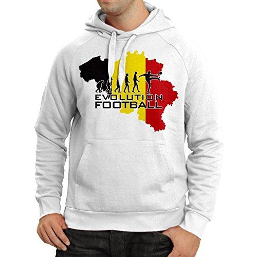 lepni.me Kapuzenpullover Evolution Fußball - Belgien, Die Belgische Flagge (Medium Weiß Mehrfarben)