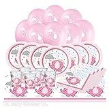 Set per baby shower, rosa, motivo con elefantino