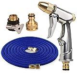 HZYWL Einziehbarer elastischer Gartenschlauch-Druckschlauch Wasserpistole Hochdruckschlauch 25FT mit 7-Funktions-Metallspritzdüse,50FT