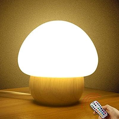 Multicolor LED Night Light , SUNNIOR Portable Silicone Cute Color Changing Mushroom Nursery Night Lamp with remote control, Romantic Dim Mood Lamp,BPA-Free?UK Plug?
