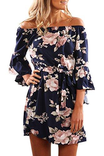 Yidarton Donna Vestito Stampa Fiore Senza spalline Mini Vestito Boho Beach Dress Abito Da Sera (S, blu scuro)