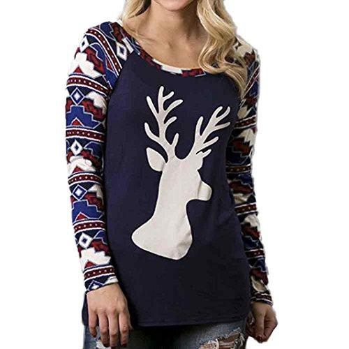 OverDose Damen Beiläufiges langes Hülsen BlumenSplicing-Sweatshirt Pullover Oberseiten Hemd Bluse Marine