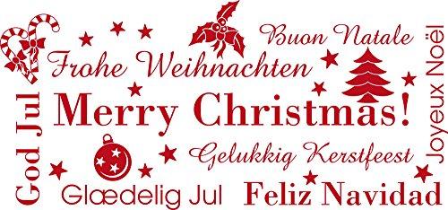 GRAZDesign Fensterdekoration Weihnachten - Wandspruch Merry christmas - Wandaufkleber Sterne - Wandtattoo Winter / 85x40cm / 031 rot / 830013_40_031
