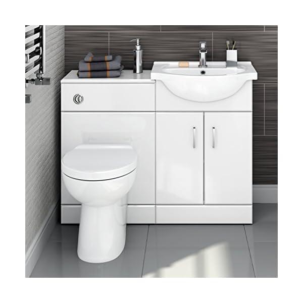 1048mm White Gloss Vanity Basin Unit + Back to Wall Toilet Furniture Set HGW2512 51bRZVbiJcL