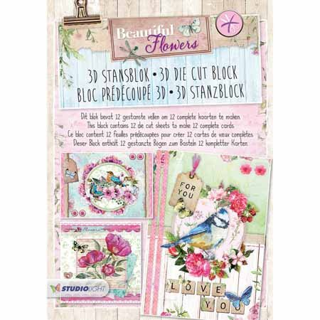 Beautiful Flowers - 3D Stanzblock - Zur Gestaltung von 12 Karten