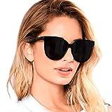 Katzenaugen Schwarz Sonnenbrille Polarisierte für Damen 100% UV Schutz (Schwarz/Grau)