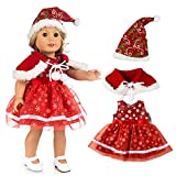 Spritumn Education Toys Girl Christmas Service Lace Princess Dress + Shawl Three-Piece Set , Chirstmas Clothes Dress Hat For 18 Inch American Boy Doll Accessory Girl Toy (A)
