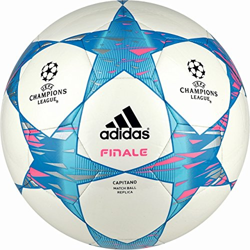 adidas Fußball Finale 14 Capitano White Pink/Solar Blue2, 5 (Messi Trikot Real Madrid)