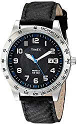Timex Mens T2N920 Elevated Classics Stainless Steel Watch with Black Band