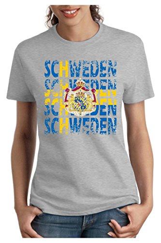 OM3 – SCHWEDEN – Damen T-Shirt tailliert – SWEDEN EM 2016 FRANKREICH FRANCE FUSSBALL FANSHIRT SOCCER SPORT TRIKOT EUROPAMEISTER, M, grau meliert