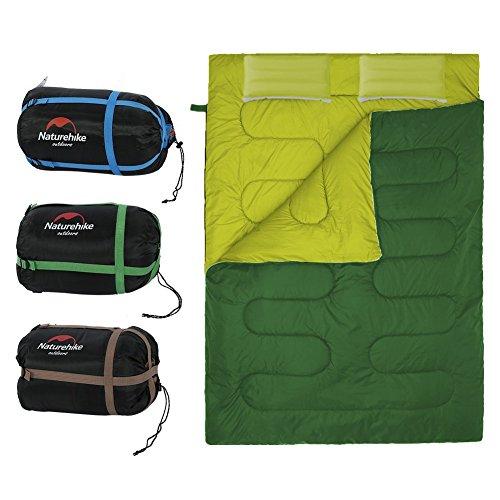 Sacco a Pelo Doppio Portatile con 2 Cuscini e Borsa da 4 Stagionali per Campeggio Escursionismo ( Colore : Army Green )