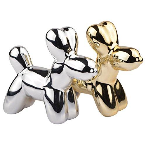 Saliera e pepiera Cani palloncini Crazy Dogs dorato e grigio cromo ceramica la chaise longue 35–2K-023