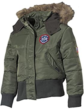 MFH Kidswear N2B - Chaqueta polar para niños (capucha con pelo) verde verde oliva Talla:134/140