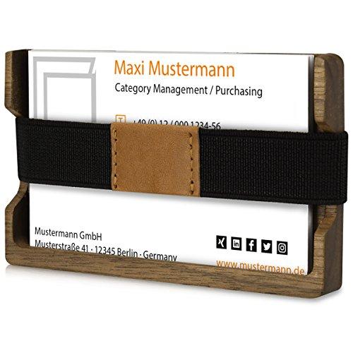 kwmobile Funda portatarjetas - tarjetero de madera para tarjetas de visita - cartera de madera para tarjetas de crédito - soporte de madera real para tarjetas en marrón