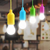 Lightess 4 Pack Colorful LED Pull Cord Light Bulb Child Night Light Battery Operated LED Hanging Light Indoor Birthday Party Lighting Outdoor Camping Lights Garden Decorative Cool White