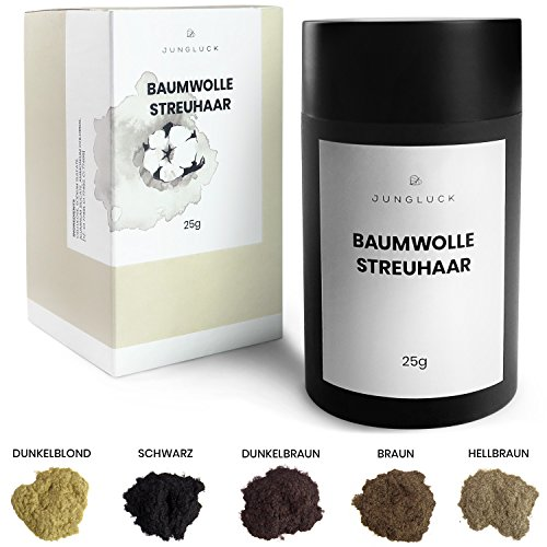 benebeauty® wird Junglück® Baumwolle Streuhaar - Hair Fibers - Haarverdichtung - Schütthaar - Haarpuder - Haarfasern - 25 g, Farbe:Dunkelbraun