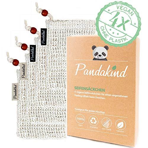 Pandakind [4x]- Deutschland beliebtestes Sisal Seifensäckchen- (inkl. s/w- Labels zum Unterscheiden) - 100{975e20996ae94b8f50b232f006383c0060f5e309830372378ce70834b3c87361} natürliches Körper-Peeling