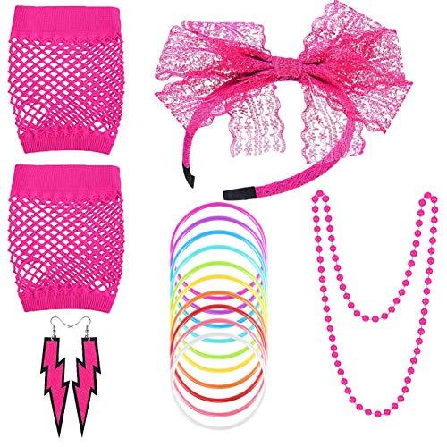 80er Jahre Inspirierte Kostüm - 80er Jahre Kostüm Zubehör, Damen 80er Party kostüm Zubehör Kunststoff Neon Halsketten Stirnband Beinlinge Perlen Halsketten Armbänder Fischnetz Handschuhe für Mädchen Frauen Night Out Party (Rosa)