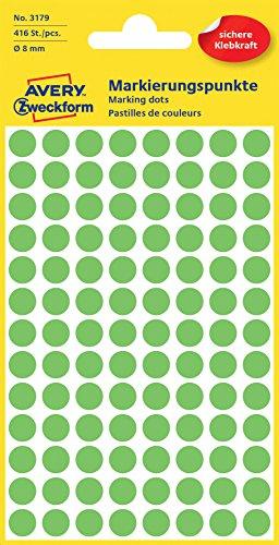 Avery 3179 puntos de etiquetas, 8 mm de diámetro, de 4 hojas, 416 etiquetas, verde fluorescente