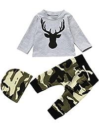 Logobeing Recién Nacido Niño Bebé Ciervos Camiseta Tops + Sombrero +  Camuflaje Pantalones 3Pcs Ropa Conjunto 1f48ed32023