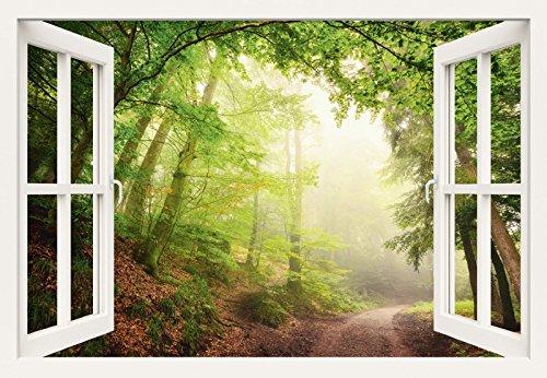 Poster stampata o la tela-quadro Artland pronta da quadro su telaio Smileus finestra dispiacerà - Archways naturale grazie alla alberi disponibile in diverse taglie, Tela da parete o poster, verde, 90x130 cm / Poster