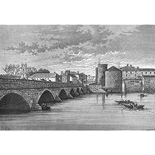 LIMERICK. Thomond's bridge & King John's Castle - c1885 - old antique vintage print - art picture prints of Ireland