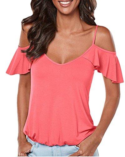 YOGLY Damen Tiefer V-Ausschnitt Solide Kurzarm Shirt Damen, Sunheit Aus Schulter Tops Rückenfreies Oberteil Sommer Rosa